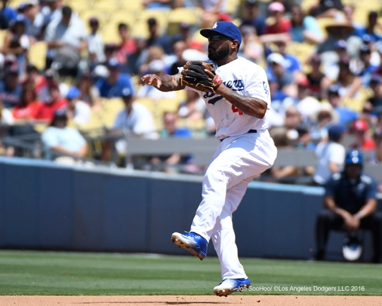 Howie Kendrick throws to second against the Boston Red Sox Saturday, August 6, 2016 at Dodger Stadium in Los Angeles,California. Photo by Jon SooHoo/©Los Angeles Dodgers,LLC 2016