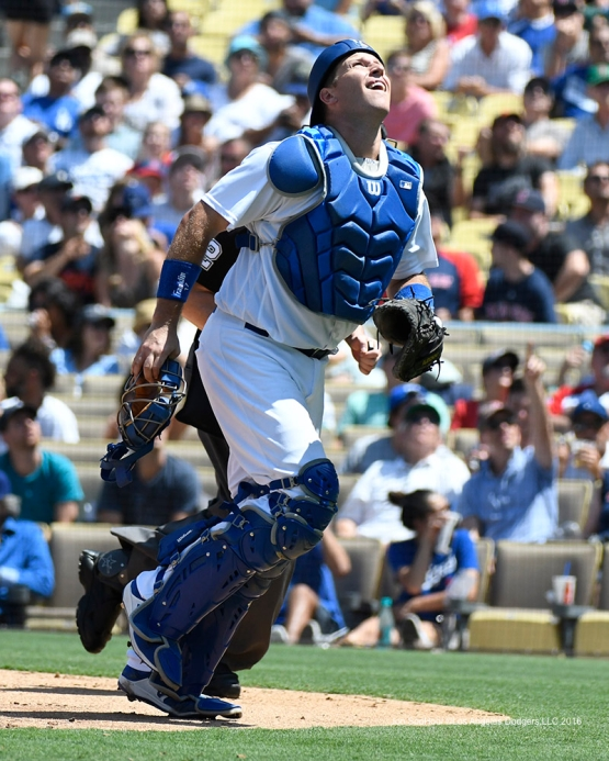 A.J.Ellis watches foul ball during game against the Boston Red Sox Saturday, August 6, 2016 at Dodger Stadium in Los Angeles,California. Photo by Jon SooHoo/©Los Angeles Dodgers,LLC 2016