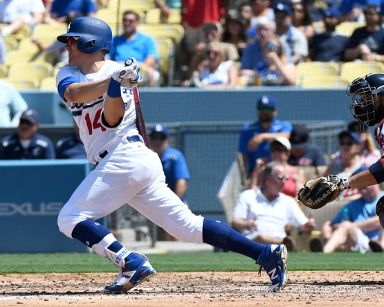 Kike Hernandez singles during game against the Boston Red Sox Saturday, August 6, 2016 at Dodger Stadium in Los Angeles,California. Photo by Jon SooHoo/©Los Angeles Dodgers,LLC 2016