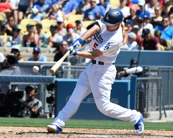 Corey Seager doubles during game against the Boston Red Sox Saturday, August 6, 2016 at Dodger Stadium in Los Angeles,California. Photo by Jon SooHoo/©Los Angeles Dodgers,LLC 2016