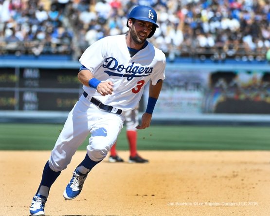 Chris Taylor during game against the Boston Red Sox Saturday, August 6, 2016 at Dodger Stadium in Los Angeles,California. Photo by Jon SooHoo/©Los Angeles Dodgers,LLC 2016