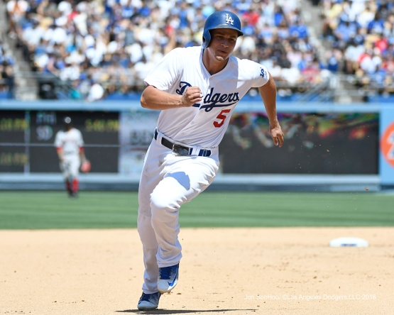 Corey Seager takes third during game against the Boston Red Sox Saturday, August 6, 2016 at Dodger Stadium in Los Angeles,California. Photo by Jon SooHoo/©Los Angeles Dodgers,LLC 2016