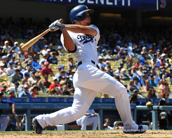 Corey Seager during game against the Boston Red Sox Saturday, August 6, 2016 at Dodger Stadium in Los Angeles,California. Photo by Jon SooHoo/©Los Angeles Dodgers,LLC 2016