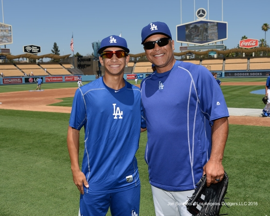 Los Angeles Dodgers Dave Roberts and son Cole pose prior to game against the Boston Red Sox Sunday, August 7, 2016 at Dodger Stadium in Los Angeles,California. Photo by Jon SooHoo/©Los Angeles Dodgers,LLC 2016