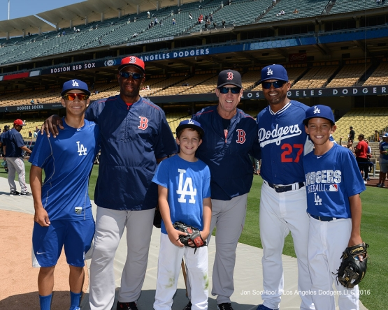 Los Angeles Dodgers and friends prior to game against the Boston Red Sox Sunday, August 7, 2016 at Dodger Stadium in Los Angeles,California. Photo by Jon SooHoo/©Los Angeles Dodgers,LLC 2016