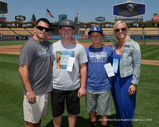 Great Los Angeles Dodger fans pose prior to game against the Boston Red Sox Sunday, August 7, 2016 at Dodger Stadium in Los Angeles,California. Photo by Jon SooHoo/©Los Angeles Dodgers,LLC 2016