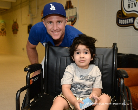 Chase Utley and friend pose prior to  game against the Boston Red Sox Sunday, August 7, 2016 at Dodger Stadium in Los Angeles,California. Photo by Jon SooHoo/©Los Angeles Dodgers,LLC 2016