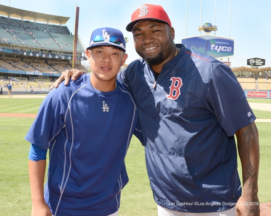 Julio Urias and David Ortiz pose Sunday, August 7, 2016 at Dodger Stadium in Los Angeles,California. Photo by Jon SooHoo/©Los Angeles Dodgers,LLC 2016