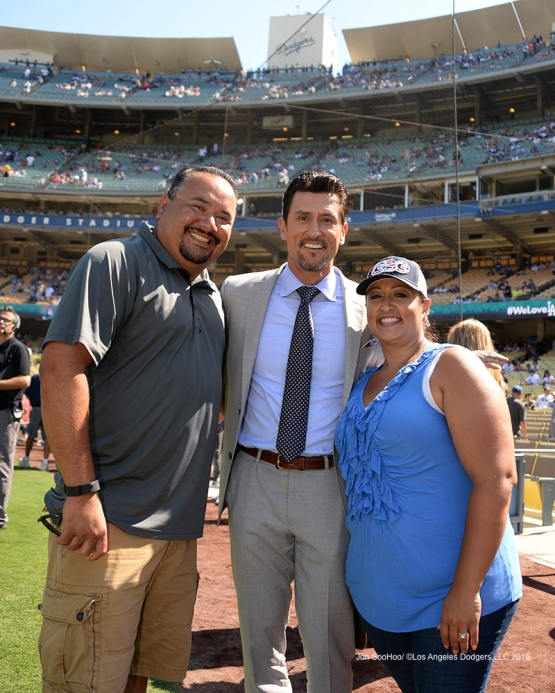 Nomar and family prior to game against the Boston Red Sox Sunday, August 7, 2016 at Dodger Stadium in Los Angeles,California. Photo by Jon SooHoo/©Los Angeles Dodgers,LLC 2016