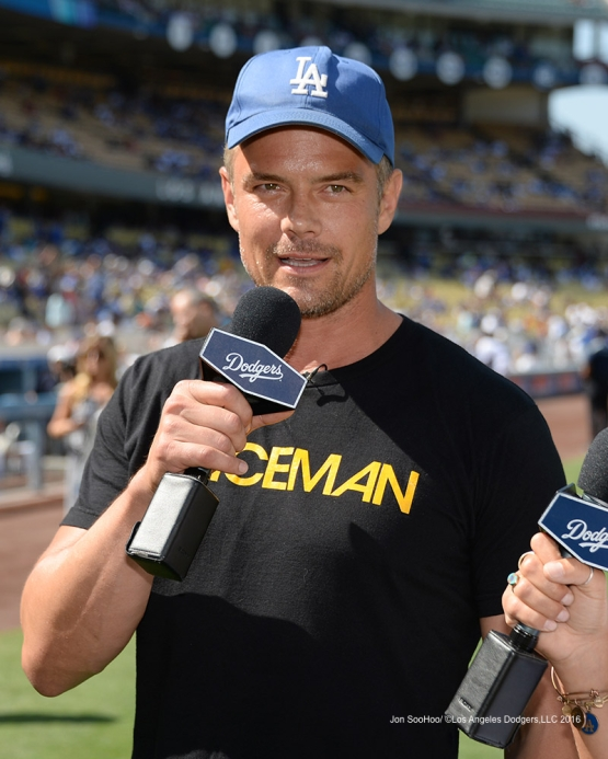Actor Josh Duhamel prior to game against the Boston Red Sox Sunday, August 7, 2016 at Dodger Stadium in Los Angeles,California. Photo by Jon SooHoo/©Los Angeles Dodgers,LLC 2016