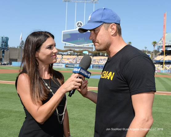 Alanna Rizzo interviews actor Josh Duhamel prior to game against the Boston Red Sox Sunday, August 7, 2016 at Dodger Stadium in Los Angeles,California. Photo by Jon SooHoo/©Los Angeles Dodgers,LLC 2016