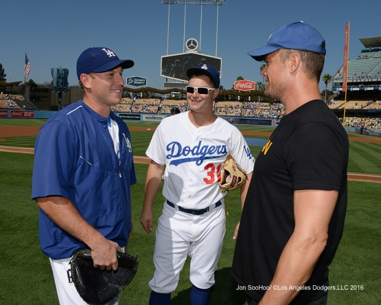 A.J.Ellis, Joc Pederson and Josh Duhamel talk prior to game against the Boston Red Sox Sunday, August 7, 2016 at Dodger Stadium in Los Angeles,California. Photo by Jon SooHoo/©Los Angeles Dodgers,LLC 2016