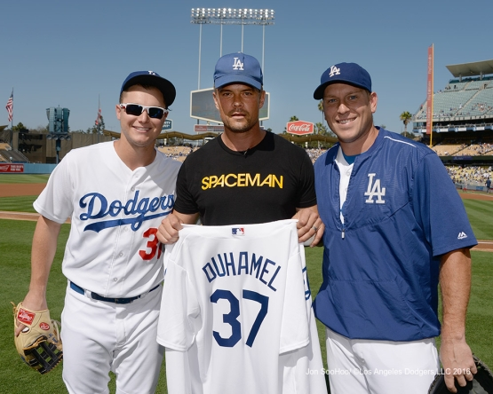 Joc Pederson, Josh Duhamel and A.J. Ellis pose prior to game against the Boston Red Sox Sunday, August 7, 2016 at Dodger Stadium in Los Angeles,California. Photo by Jon SooHoo/©Los Angeles Dodgers,LLC 2016