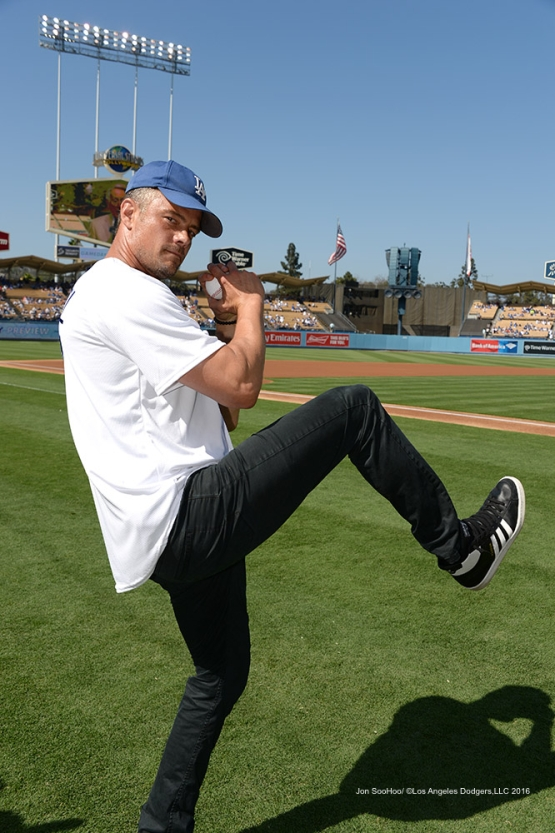 Actor Josh Duhamel warms up prior to  game against the Boston Red Sox Sunday, August 7, 2016 at Dodger Stadium in Los Angeles,California. Photo by Jon SooHoo/©Los Angeles Dodgers,LLC 2016