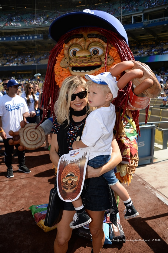 Fergie and son prior to  game against the Boston Red Sox Sunday, August 7, 2016 at Dodger Stadium in Los Angeles,California. Photo by Jon SooHoo/©Los Angeles Dodgers,LLC 2016