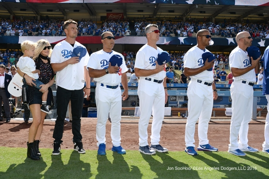 Actor Josh Duhamel and family join Los Angeles Dodgers for the national anthem prior to game against the Boston Red Sox Sunday, August 7, 2016 at Dodger Stadium in Los Angeles,California. Photo by Jon SooHoo/©Los Angeles Dodgers,LLC 2016