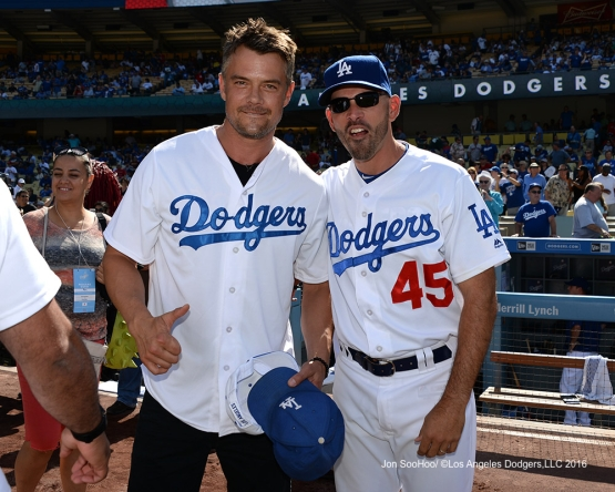 Actor Josh Duhamel poses with Chris Woodward  prior to game against the Boston Red Sox Sunday, August 7, 2016 at Dodger Stadium in Los Angeles,California. Photo by Jon SooHoo/©Los Angeles Dodgers,LLC 2016