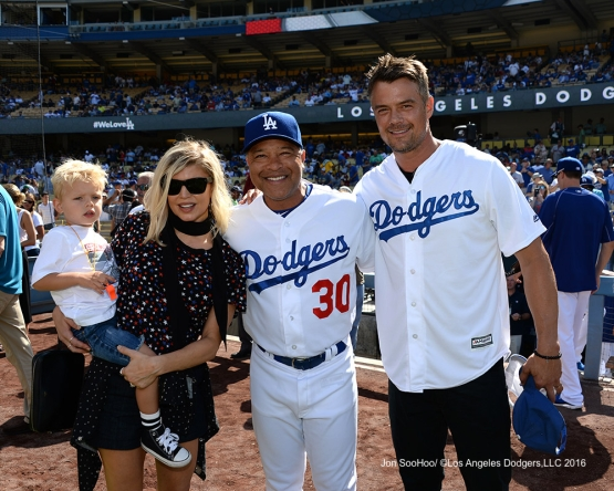 Actor Josh Duhamel and family pose with Dave Roberts  prior to game against the Boston Red Sox Sunday, August 7, 2016 at Dodger Stadium in Los Angeles,California. Photo by Jon SooHoo/©Los Angeles Dodgers,LLC 2016