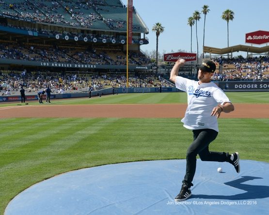Actor Josh Duhamel throws out the first pitch prior to game against the Boston Red Sox Sunday, August 7, 2016 at Dodger Stadium in Los Angeles,California. Photo by Jon SooHoo/©Los Angeles Dodgers,LLC 2016