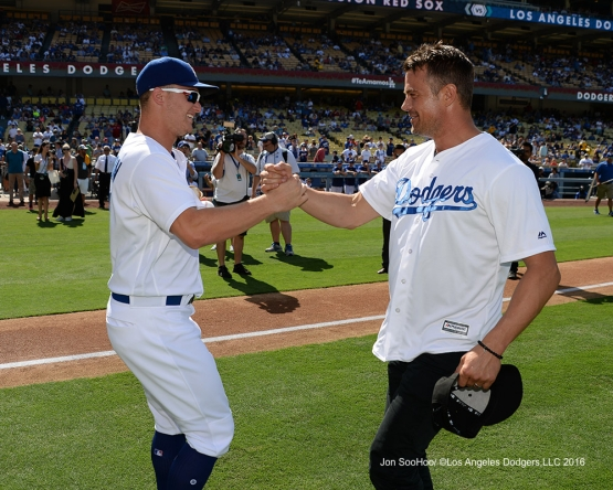 Joc Pederson and actor Josh Duhamel prior to game against the Boston Red Sox Sunday, August 7, 2016 at Dodger Stadium in Los Angeles,California. Photo by Jon SooHoo/©Los Angeles Dodgers,LLC 2016