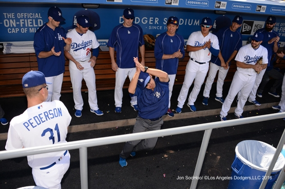 Will the Thrill prior to game against the Boston Red Sox Sunday, August 7, 2016 at Dodger Stadium in Los Angeles,California. Photo by Jon SooHoo/©Los Angeles Dodgers,LLC 2016