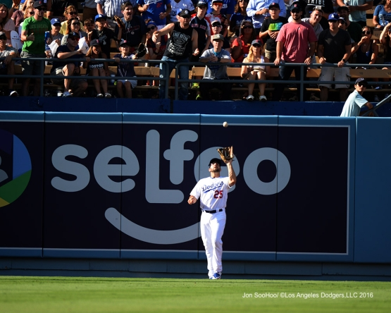 Rob Segedin catches fly ball during game against the Boston Red Sox Sunday, August 7, 2016 at Dodger Stadium in Los Angeles,California. Photo by Jon SooHoo/©Los Angeles Dodgers,LLC 2016