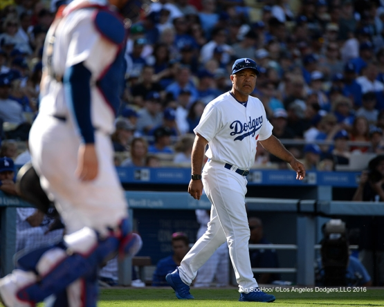 Dave Roberts during game against the Boston Red Sox Sunday, August 7, 2016 at Dodger Stadium in Los Angeles,California. Photo by Jon SooHoo/©Los Angeles Dodgers,LLC 2016