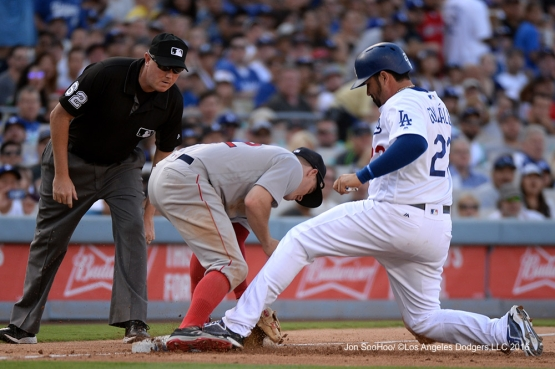 Adrian Gonzalez is safe at third against the Boston Red Sox Sunday, August 7, 2016 at Dodger Stadium in Los Angeles,California. Photo by Jon SooHoo/©Los Angeles Dodgers,LLC 2016