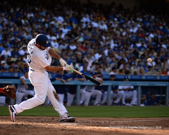 Rob Segedin singles during game against the Boston Red Sox Sunday, August 7, 2016 at Dodger Stadium in Los Angeles,California. Photo by Jon SooHoo/©Los Angeles Dodgers,LLC 2016
