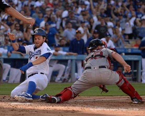 Josh Reddick scores against the Boston Red Sox Sunday, August 7, 2016 at Dodger Stadium in Los Angeles,California. Photo by Jon SooHoo/©Los Angeles Dodgers,LLC 2016