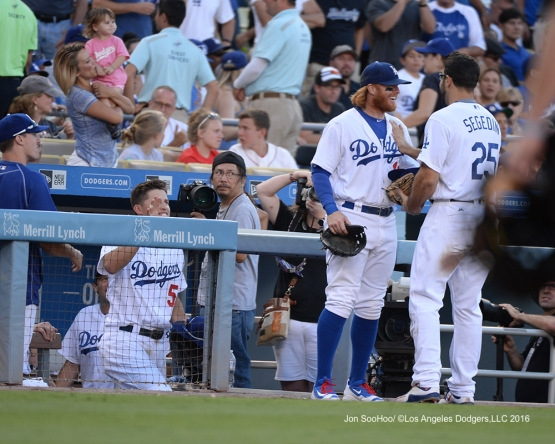 Rob Segedin is greeted by teammates after 2nd hit during game against the Boston Red Sox Sunday, August 7, 2016 at Dodger Stadium in Los Angeles,California. Photo by Jon SooHoo/©Los Angeles Dodgers,LLC 2016