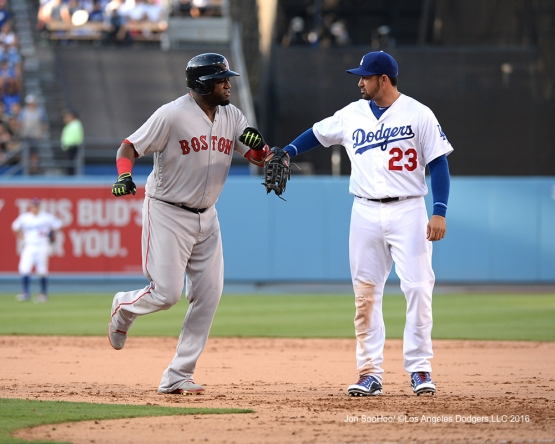 Adrian Gonzalez and David Ortiz during game against the Boston Red Sox Sunday, August 7, 2016 at Dodger Stadium in Los Angeles,California. Photo by Jon SooHoo/©Los Angeles Dodgers,LLC 2016