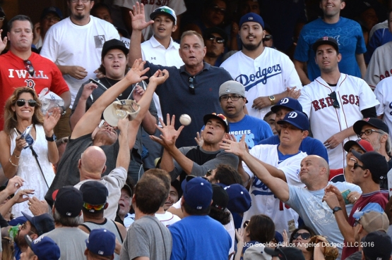 Great catch during game against the Boston Red Sox Sunday, August 7, 2016 at Dodger Stadium in Los Angeles,California. Photo by Jon SooHoo/©Los Angeles Dodgers,LLC 2016