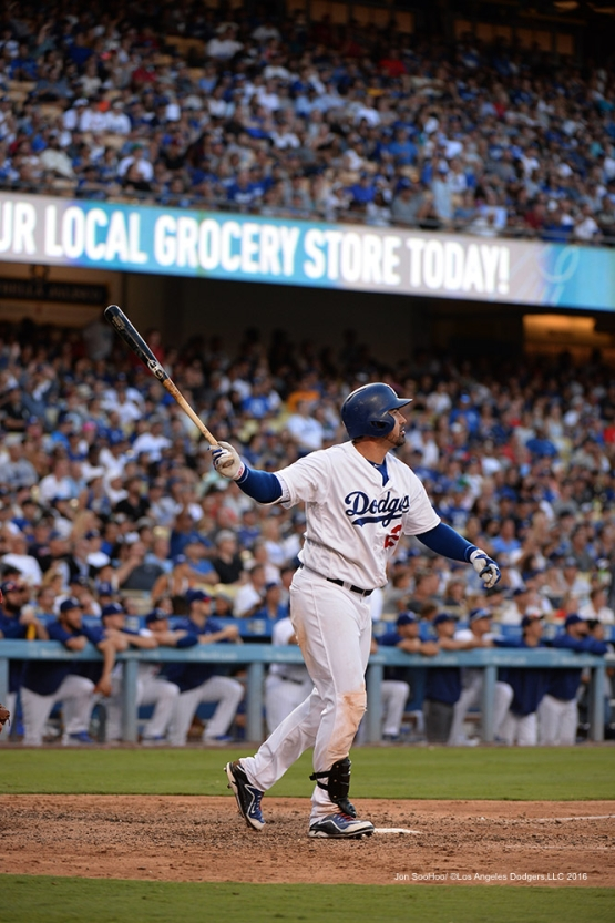 Adrian Gonzalez hits his 300th career home run during game against the Boston Red Sox Sunday, August 7, 2016 at Dodger Stadium in Los Angeles,California. Photo by Jon SooHoo/©Los Angeles Dodgers,LLC 2016
