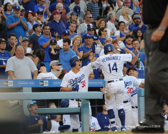 Kike Hernandez homers against the Boston Red Sox Sunday, August 7, 2016 at Dodger Stadium in Los Angeles,California. Photo by Jon SooHoo/©Los Angeles Dodgers,LLC 2016