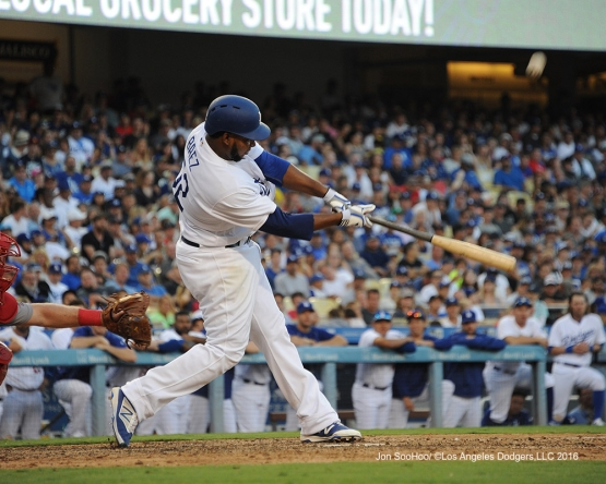 Pedro Baez hits against the Boston Red Sox Sunday, August 7, 2016 at Dodger Stadium in Los Angeles,California. Photo by Jon SooHoo/©Los Angeles Dodgers,LLC 2016