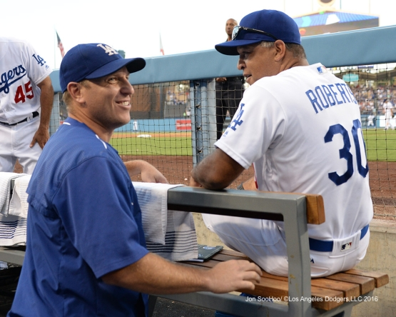 A.J. Ellis and Dave Roberts during game against the Boston Red Sox Sunday, August 7, 2016 at Dodger Stadium in Los Angeles,California. Photo by Jon SooHoo/©Los Angeles Dodgers,LLC 2016