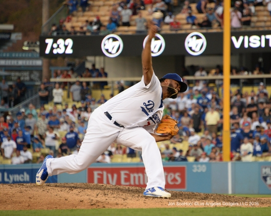Kenley Jensen during game against the Boston Red Sox Sunday, August 7, 2016 at Dodger Stadium in Los Angeles,California. Photo by Jon SooHoo/©Los Angeles Dodgers,LLC 2016