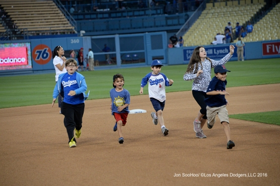 Kids run the bases after game against the Boston Red Sox Sunday, August 7, 2016 at Dodger Stadium in Los Angeles,California. Photo by Jon SooHoo/©Los Angeles Dodgers,LLC 2016