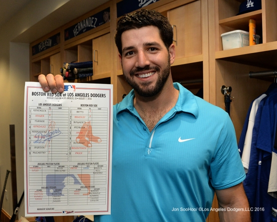 Rob Segedin with the official lineup card from his first game in the big leagues after win against the Boston Red Sox Sunday, August 7, 2016 at Dodger Stadium in Los Angeles,California. Photo by Jon SooHoo/©Los Angeles Dodgers,LLC 2016
