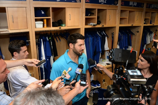 Rob Segedin speaks to the media after game against the Boston Red Sox Sunday, August 7, 2016 at Dodger Stadium in Los Angeles,California. Photo by Jon SooHoo/©Los Angeles Dodgers,LLC 2016