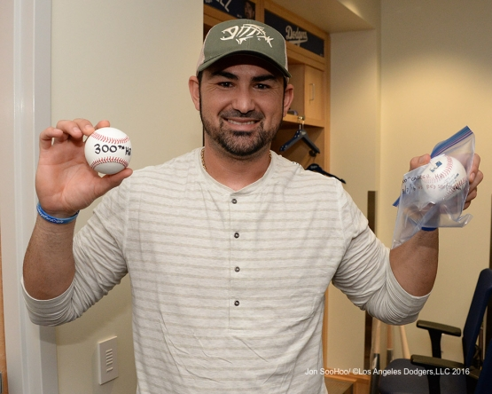 Adrian Gonzalez shows off his 300th home run ball after win against the Boston Red Sox Sunday, August 7, 2016 at Dodger Stadium in Los Angeles,California. Photo by Jon SooHoo/©Los Angeles Dodgers,LLC 2016