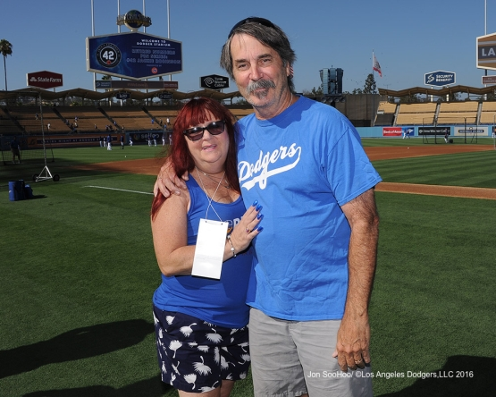 Great Los Angeles Dodger fans pose prior to game against the Philadelphia Phillies Monday, August 8, 2016 at Dodger Stadium in Los Angeles,California. Photo by Jon SooHoo/©Los Angeles Dodgers,LLC 2016
