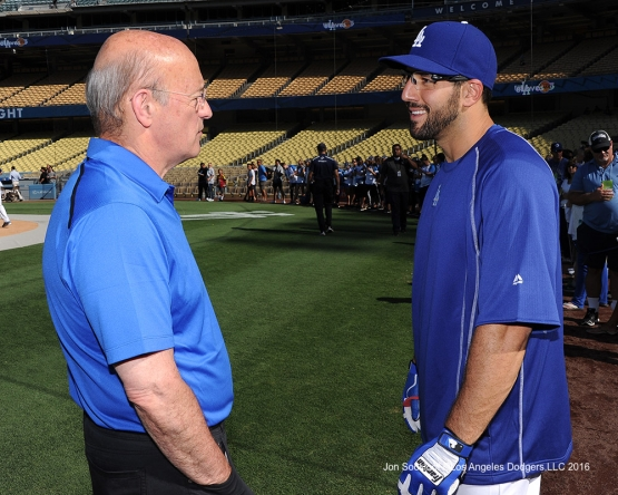 Stan Kasten and Rob Segedin talk prior to game against the Philadelphia Phillies Monday, August 8, 2016 at Dodger Stadium in Los Angeles,California. Photo by Jon SooHoo/©Los Angeles Dodgers,LLC 2016