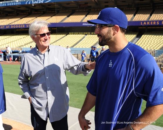 Mark Walter speaks with Rob Segedin prior to game against the Philadelphia Phillies Monday, August 8, 2016 at Dodger Stadium in Los Angeles,California. Photo by Jon SooHoo/©Los Angeles Dodgers,LLC 2016