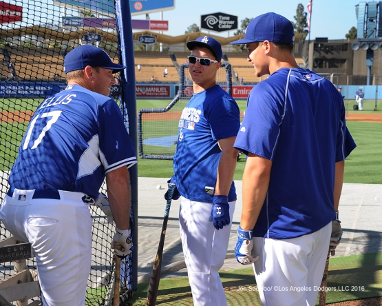 A.J.Ellis, Joc Pederson and Corey Seager prior to game against the Philadelphia Phillies Monday, August 8, 2016 at Dodger Stadium in Los Angeles,California. Photo by Jon SooHoo/©Los Angeles Dodgers,LLC 2016