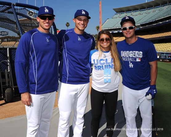 Trayce Thompson, Corey Seager, Jacey and Joc Pederson prior to game against the Philadelphia Phillies Monday, August 8, 2016 at Dodger Stadium in Los Angeles,California. Photo by Jon SooHoo/©Los Angeles Dodgers,LLC 2016