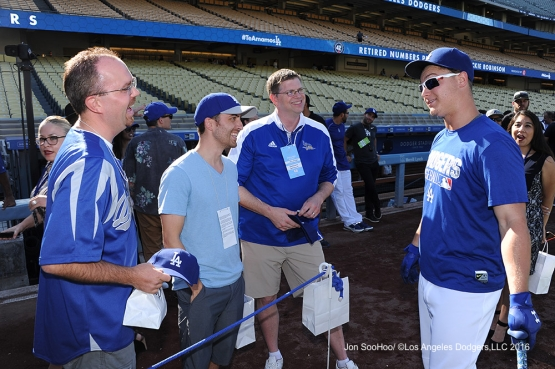 Great Los Angeles Dodger fans talk with Joc Pederson prior to game against the Philadelphia Phillies Monday, August 8, 2016 at Dodger Stadium in Los Angeles,California. Photo by Jon SooHoo/©Los Angeles Dodgers,LLC 2016