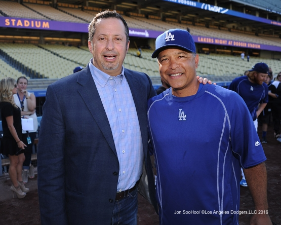 Dave Roberts poses with friend prior to game against the Philadelphia Phillies Monday, August 8, 2016 at Dodger Stadium in Los Angeles,California. Photo by Jon SooHoo/©Los Angeles Dodgers,LLC 2016