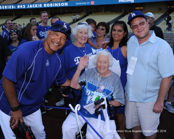 Great Los Angeles Dodger fans pose with Dave Roberts prior to game against the Philadelphia Phillies Monday, August 8, 2016 at Dodger Stadium in Los Angeles,California. Photo by Jon SooHoo/©Los Angeles Dodgers,LLC 2016